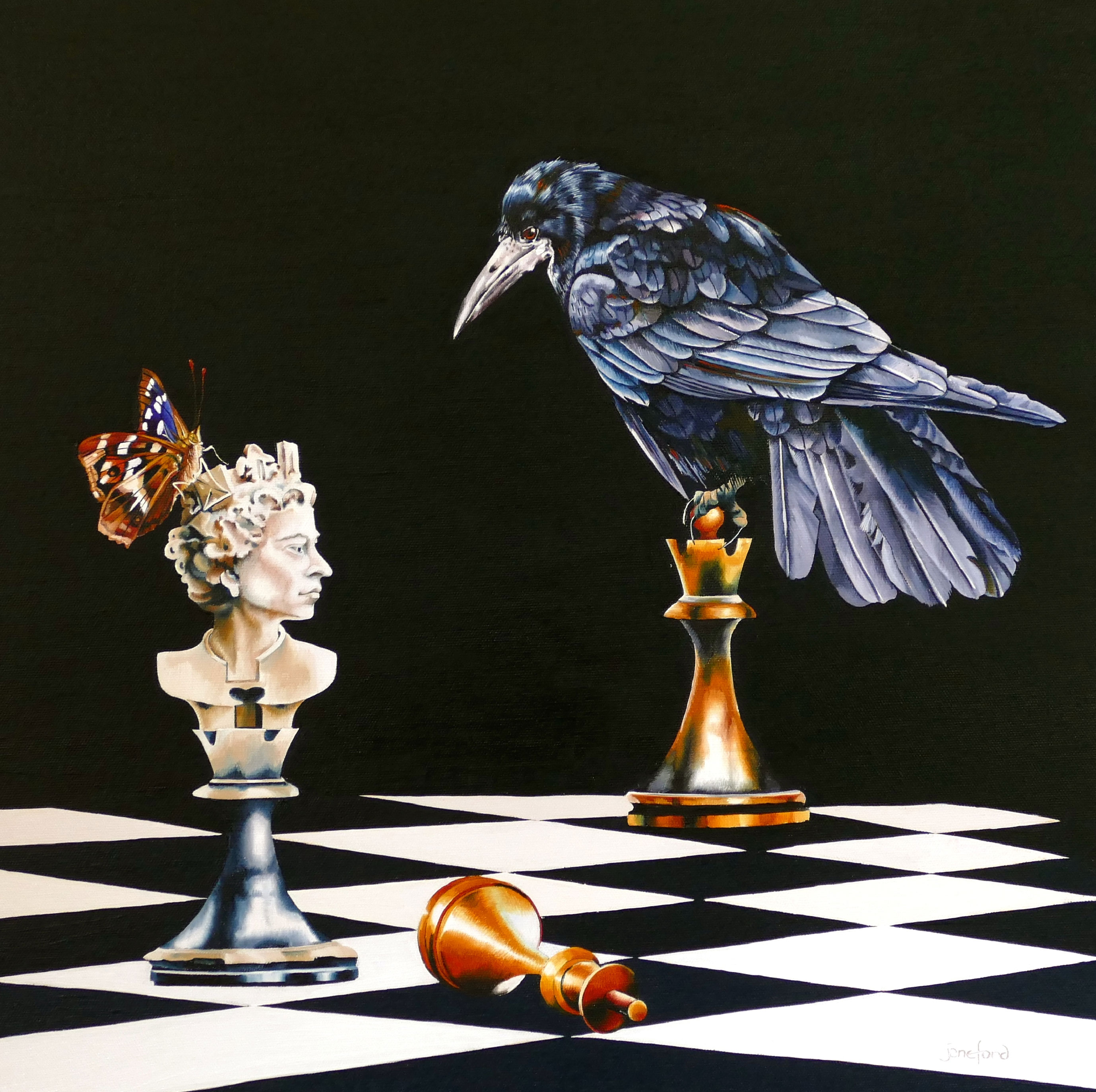 "IN DEFENCE OF THE WHITE QUEEN - OIL ON CANVAS  image size 20"" x 20"""