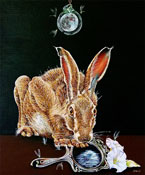 "OVER THE MOON - OIL ON CANVAS  image size 24"" x 28"""