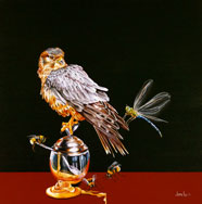 "THE BEGUILING OF MERLIN - OIL ON CANVAS  image size 16"" x 16"""