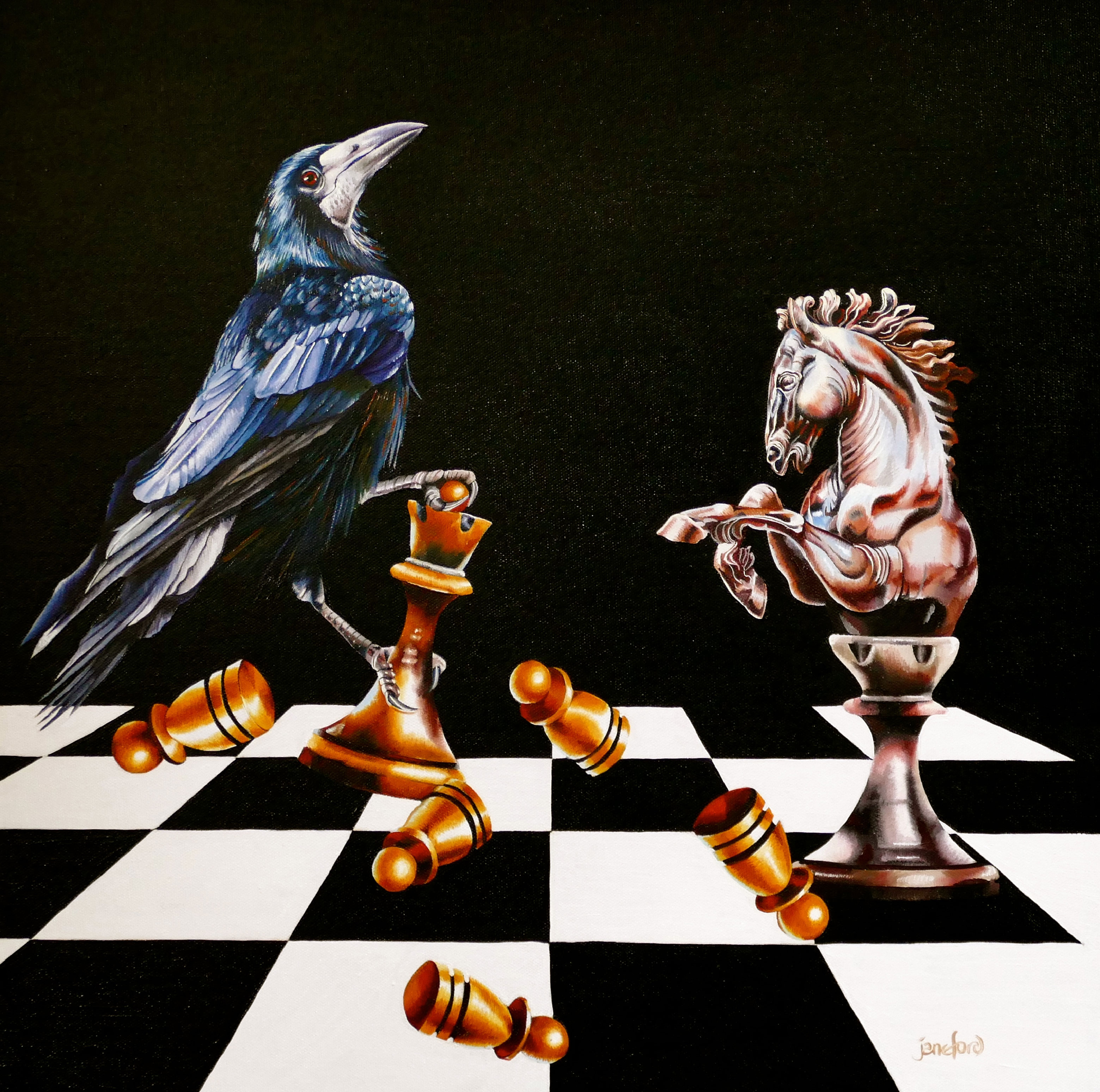 "THE CHALLENGE OF THE BLACK KNIGHT - OIL ON CANVAS  image size 20"" x 20"""