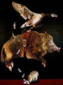 "THE FUNDAMENTALS OF FLIGHT - OIL ON CANVAS  image size 36"" x 48"""