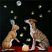 "WHY WISH FOR THE MOON WHEN WE HAVE THE STARS - OIL ON CANVAS  image size 36"" x 36"""